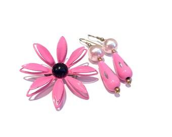 Vintage Pink Flower Brooch And Pink Earrings Set