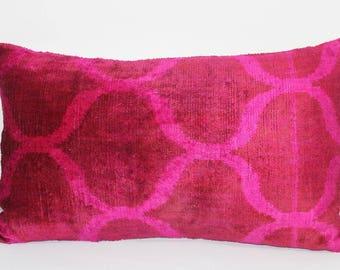 Pink Ikat Velvet Pillow -  14'' x 24''  Pink Pillow Accent Sofa Pillows Ikat Lumbar Pillow Cover Velvet Pillow Cover Pink Couch Pillow