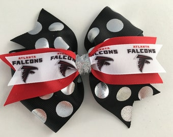 Atlanta Falcons Hair Bow Falcons Bow Super Bowl Hair Bow Black Polka Dot Falcons Bow Falcons Logo Hair Bow Atlanta Flacons Logo Ribbon