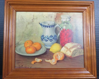 "Robert Chailloux Lithograph Framed Still Life with Oranges Lemon Bread 15"" x 13"""