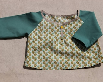 T-shirt cotton, size 3 months, long sleeves, handmade, birthday gift