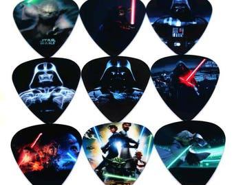 Star Wars Guitar Pick Set Collection Collectible Comic Movie Gift Set of 9 Guitar Picks Plectrums Darth Vader Yoda Clone Wars Light Saber