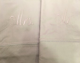 Mr & Mrs Pillows Cases- Olive Green with silver
