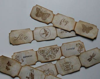 Handmade Coffee Dyed and Stamped Ticket Strips