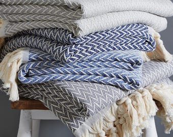 Zig Zag Throw | Cotton | Tassels| Rose Throw | Navy Throw | Denim Throw | Sofa | Bedding | Home & Living | Contemporary Blanket | Grey Throw