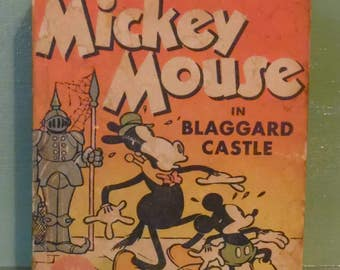 Mickey Mouse in Blaggard Castle Disney Big Little Book Comic Graphic Novel Shelf Home Decor Mid Century Modern Retro Vintage Cartoon