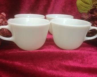 Pyrex Ware Coffee Mugs, Pyrex Coffee Mugs, White Tea Cups, Set of Four Coffee Mugs, Vintage Pyrex Mugs