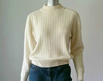 Cable Knit Sweater | Off White Clothing | 80s Sweater | Mock Neck | Mock Turtleneck | Vintage Sweater | Preppy Clothing |