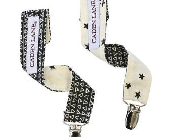 Sawyer's Stars Baby Boy Pacifier Clips | Black, Ivory, Star, Triangles, Cream Baby Paci Clips (set of 2)