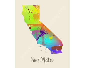 San Mateo California San Mateo Map San Mateo Print San Mateo Poster San Mateo Art San Mateo Gift San Mateo Wall Decor
