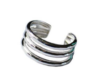 Adjustable Silver Toe Ring / Three Strands / .925 Sterling Silver / One Size Fits All