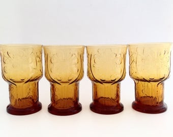 Vintage Mid Century Modern Glasses - Cocktail Glasses - Libbey Glass Larger Size 1970's  Flower Power - Country Garden Amber Glasses