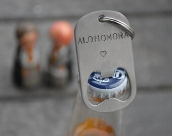 ALOHOMORA bottle opener keychain.  Optional heart or lightning bolt!