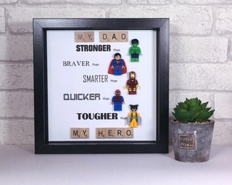 superhero frame for dad - Fathers Day - birthday gift for dad - my dad is my hero - gift for him - birthday present - daddy is my superhero
