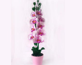 Handmade Beaded Orchid with Luxury flowers and buds