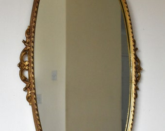 Vintage Ornate Gold Metal Framed Wall Mirror Lovely Condition 72cm x 53cm
