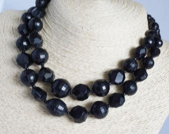 Vintage necklace, bead necklace, 1950's black bead crystal necklace, double strand necklace