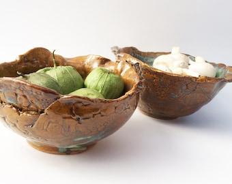 Primitive Bowl Set, 2 Stoneware Bowls,  Brutalist Pottery, Rustic, Soup Bowl Set, Serving Bowl Set, Nested Bowl Set, Funky Unusual Pottery