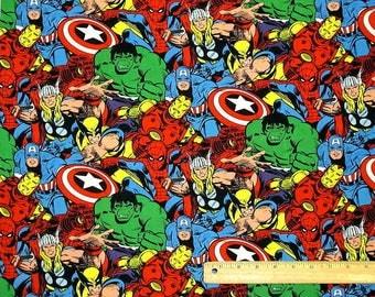 "One piece   9"" x 42"" marvel retro superhero 100% cotton fabric"
