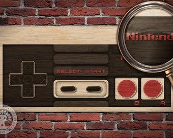 Nintendo NES Controller Woodblock Art