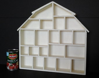 Miniatures Barn Shadowbox Wall Hanging Display, Cream, Off White, Ivory Chalk Painted, Lightly Distressed Barn