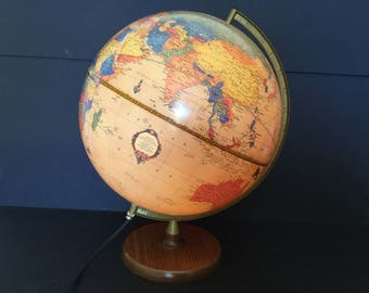 "Cram's Lighted World Globe, Tan Antique Style 12"" Globe Map of the World"