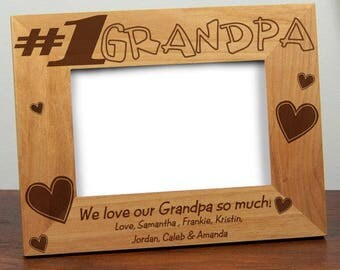 1# GRANDPA Father's Day Picture Frame  - Father's Day Photo Frame - Father's Day Gifts - Grandfather Frame - Dad Wood Frame - Uncle Frames