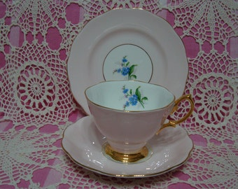 Beautiful Vintage Royal Albert Pastel Pink FORGET ME NOT Cup, Saucer & Plate.