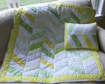 Special Sale! Gender Nuetral Baby Quilt with Matching Pillow