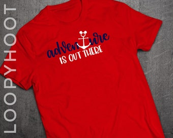 "Disney Cruise Shirts ""Adventure is out there"" Mouse Anchor Family Vacation shirt in RED"