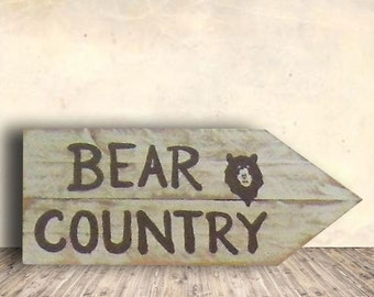 Bear Sign - Cabin Signs - Country Decor - Directional Sign - Country Signs - Bear - Cabin Decor - Country Bear Sign - Birthday Gift