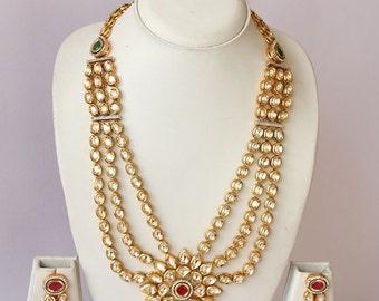 Long Kundan Bridal Necklace Set / Traditional Indian Kundan Wedding Jewelry / Maharani Necklace Set / Bollywood Jewelry / Indian Wedding Set
