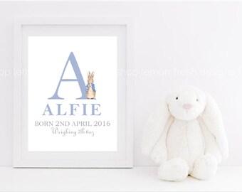 Personalised Peter Rabbit Nursery Art, Beatrix Potter Nursery Decor, Peter Rabbit Decor, Nursery Wall Art, Boy or Girl Wall Art