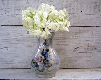 Vintage Gift for mother Vintage flower vase Collectible vase Blue porcelain vases Retro kitchen Rustic decor Ceramic vase Small vase