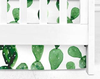 Green Cactus crib skirt, Cactus crib skirt, green cactus, cacti nursery, cacti baby bedding, cactus baby, arizona & tribal bedding, crib bed