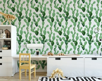 Cactus Wallpaper, Removable wallpaper, arizona cactus, nursery wallpaper, cactus nursery, arizona nursery, repositionable wallpaper, baby