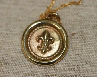 Fleur de lis Gold Necklace, Gold  Necklace, Handmade 14K  Fleur De Lis Necklace , Yellow gold  Necklace, Romantic  Pendant,