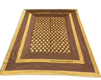 Hand Made Indian Silk Brocade Design Brown Color Double Bed Cover 260x240 CM