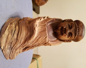 Very Beautiful Chinese or Janapnese Hand Carved Wooden Buddha Statue. Signed.