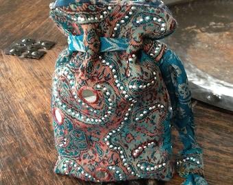 Handmade Tarot Card Pouch, Tarot Card Bag, Drawstring Pouch ~ Pashmina & Saree Fabric ~ Turquoise, Silver, Red, Pink ~ Beads, MIrrors,