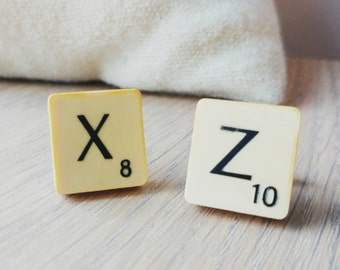 Upcycled scrabble cufflinks, wedding favours, favors, present, personalised, vintage scrabble set, initials, letters, gift for him, unique