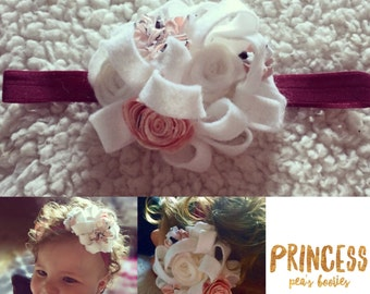 Wedding / Photoshoot Baby hairband bow Photo Prop Spring Fling in Felt - Jersey Roses Floral Sprig