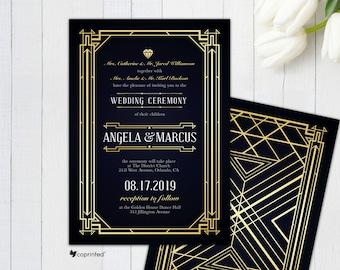 Great Gatsby Inspired Wedding Invitation, Art Deco Wedding Card, 1920s Wedding Invitation, Glam Wedding Card, Vintage Wedding Invitation