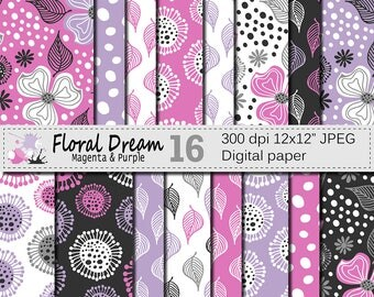 "Seamless Floral Magenta and Purple Digital Paper ""Floral Dream"", Hand Drawn Flowers Seamless Pattern, Printable Scrapbook Paper"