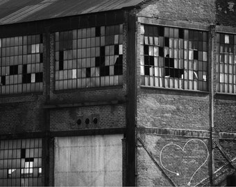 Industrial Gray Loft Art, Black and white factory image, Old building photo, Gray Wall Art, Masculine Home Decor