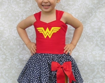 Girls Wonder Woman Inspired Costume Superhero Birthday Party Outfit Pageant Dress