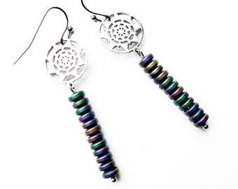 Long earrings Matte Hematite Bar earrings Stainless Steel details Genuine stones Rainbow Sun earrings Hypoallergenic Simply earrings