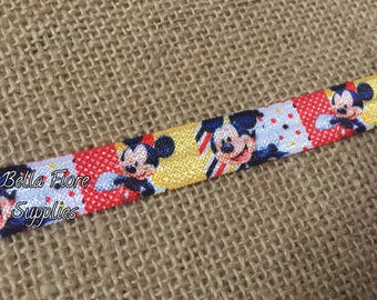 Mickey Mouse Fold Over Elastic- Mickey Mouse FOE- Fold Over Elastic- Wholesale Elastic- DIY Headband- Elastic By The Yard