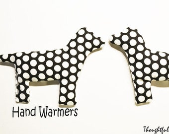 Hand Warmers / Cold Pack / rice heat pack / Dogs / Ouch Packs / microwave heat pack / Reuse /  Black Polka Dots