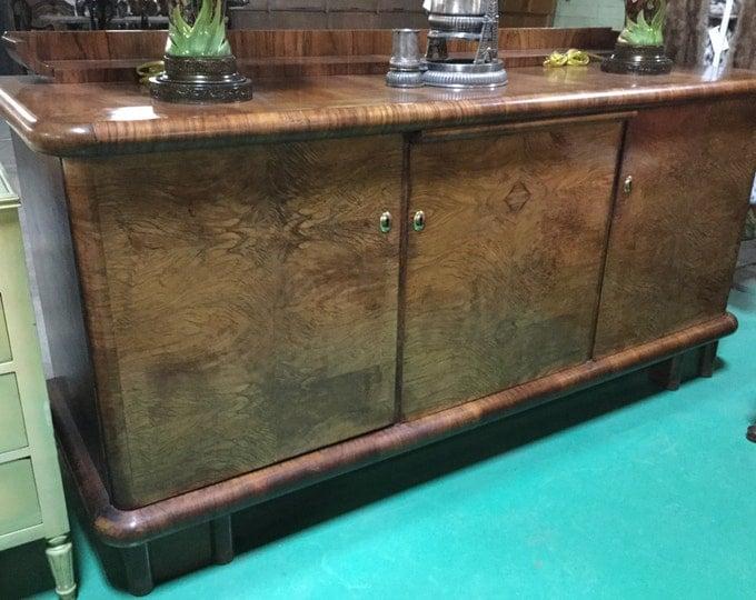 Ca. 1930s Art Deco Mahogany Solids and Zebra wood Sideboard